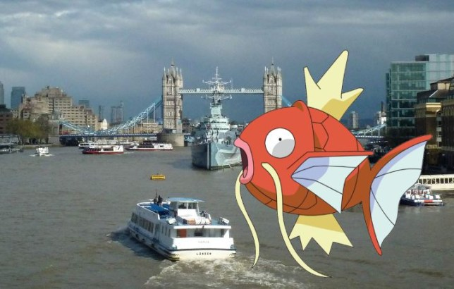 Is there a Magikarp in the Thames? (Picture: Getty/Nintendo)