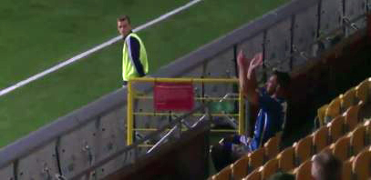 Watch: Striker applauds his goal in the stands – and gets sent off for it
