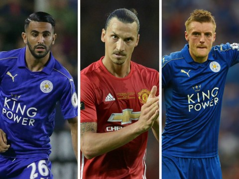 Manchester United and Leicester City combined XI, with Zlatan Ibrahimovic and Jamie Vardy up front