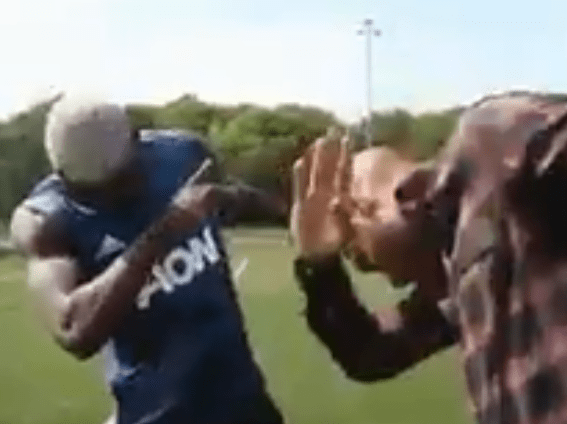 Manchester United ace Paul Pogba teaches Arsenal legend Thierry Henry how to dab