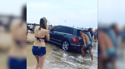 When you go to the beach don't be this guy who left his handbrake off