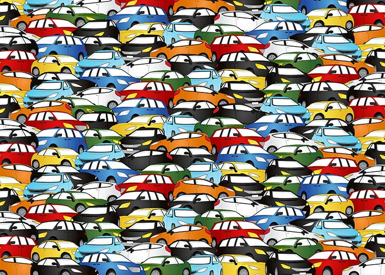 Can you spot the black taxi in this photo?
