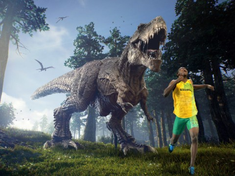 Usain Bolt runs away from a T-Rex and other Olympics inspired pictures