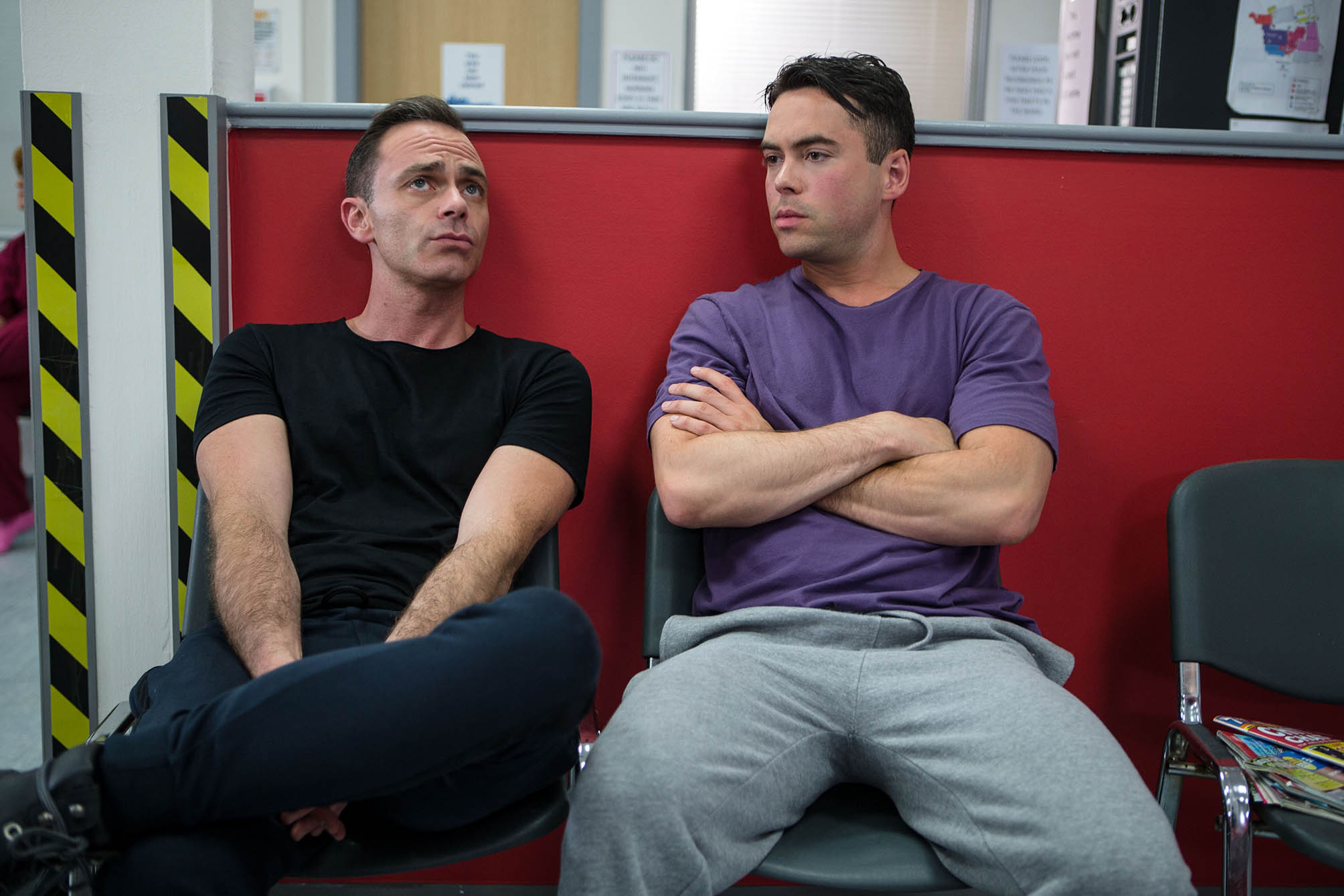 FROM ITV STRICT EMBARGO - NO USE BEFORE TUESDAY 20 SEPTEMBER 2016 Coronation Street - Ep 9001 Thursday 29 September 2016 In a dramatic turn of events which puts Todd and Billy in an A&E waiting room together, Todd Grimshaw BRUNO LANGLEY realises how much he wants Billy Mayhew DANIEL BROCKLEBANK back and decides he needs to do the right thing and pull out of his partnership with Phelan. But can Phelan persuade him otherwise, and will Todd stay strong? Picture contact: david.crook@itv.com on 0161 952 6214 Photographer - Mark Bruce This photograph is (C) ITV Plc and can only be reproduced for editorial purposes directly in connection with the programme or event mentioned above, or ITV plc. Once made available by ITV plc Picture Desk, this photograph can be reproduced once only up until the transmission TX date and no reproduction fee will be charged. Any subsequent usage may incur a fee. This photograph must not be manipulated excluding basic cropping in a manner which alters the visual appearance of the person photographed deemed detrimental or inappropriate by ITV plc Picture Desk. This photograph must not be syndicated to any other company, publication or website, or permanently archived, without the express written permission of ITV Plc Picture Desk. Full Terms and conditions are available on the website www.itvpictures.com