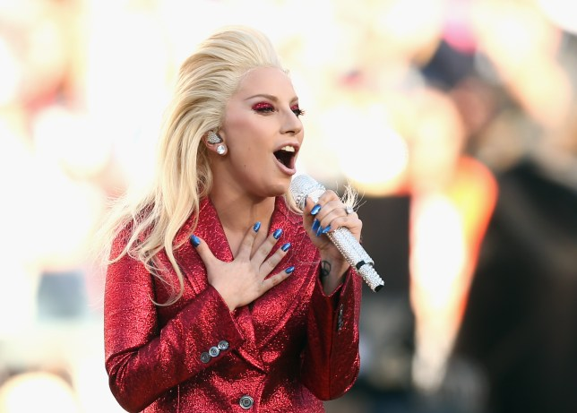 SANTA CLARA, CA - FEBRUARY 07: Lady Gaga sings the National Anthem at Super Bowl 50 at Levi's Stadium on February 7, 2016 in Santa Clara, California. (Photo by Matt Cowan/Getty Images)