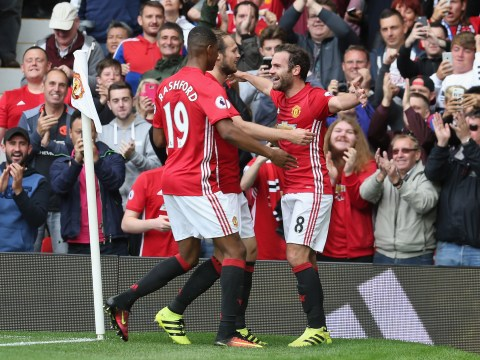Manchester United have a four-goal lead at half time for the first time since 2001