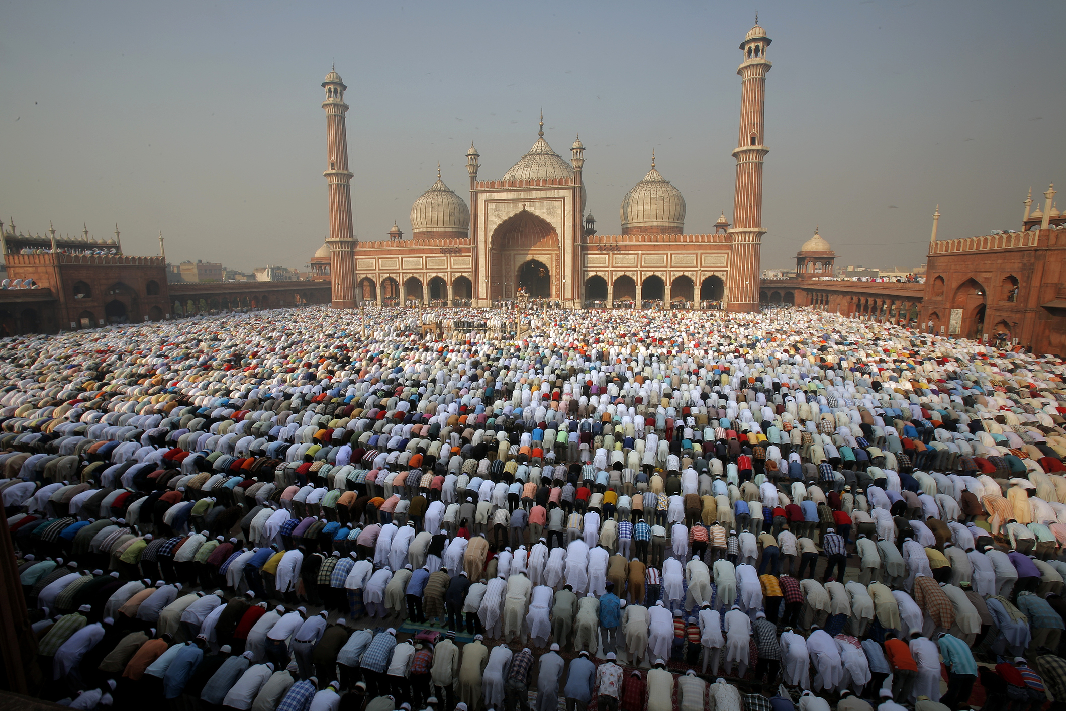 Morning prayers at Jama Masjid mosque in Delhi during Eid festival. India
