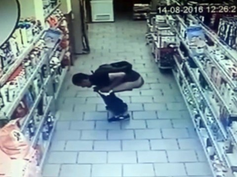 Man squats down, poos in supermarket, then steals tissue from shelf to clean up