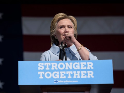 Clinton blames minute-long coughing marathon on 'allergic reaction to Trump'