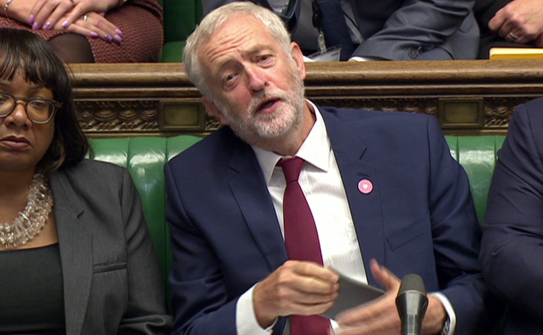 "Pic shows: PMQ""s 7.9.16nJeremy Corbyn looked to be clutching his heart but was actually looking for his glassesnnnnPicture by Pixel8000 07917221968"