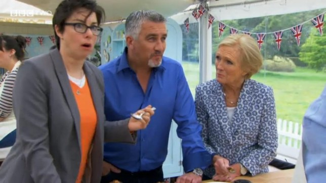 Television programme - The Great British Bake Off - 01/10/13..Pictured: L-R Sue Perkins, Paul Hollywood and Mary Berry..Office (UK) : 01322 861777..Mobile (UK) : 07742 164 106..**IMPORTANT - PLEASE READ** The video grabs supplied by Ruckas Pictures always remain the copyright of the programme makers, we provide a service to purely capture and supply the images to the client, securing the copyright of the images will always remain the responsibility of the publisher at all times...Standard terms, conditions & minimum fees apply to our videograbs unless varied by agreement prior to publication... ****Ruckas Videograbs**** (01322) 861777..*IMPORTANT* Please credit BBC for this picture.