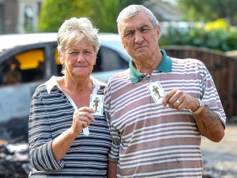 Thugs torch retired couple's caravan – then leave Joker 'calling cards' at scene of crime