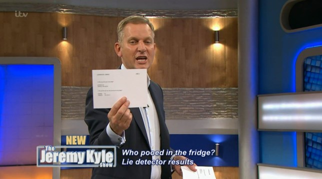 ****Ruckas Videograbs**** (01322) 861777 *IMPORTANT* Please credit ITV for this picture. 16/09/16 The Jeremy Kyle Show - Today (16th September 2016), ITV1 Grabs from this morning's show which saw Jeremy Kyle resolve an issue which derived from a previous episode - who pooed in the old lady's fridge?! Eileen had previously been on the show accusing her nieces of doinf a poo in her caravan fridge and after the accusation went viral and became a news story, Jeremy invited the nieces back to take lie detector tests. Kathlee, Theresa and Mary were back on today's show and they all passed the lie decetor, proving that none of them had done a poo in Eileen's fridge. Eileen, who wasn't on today's show, was accused of making the story up. Office (UK) : 01322 861777 Mobile (UK) : 07742 164 106 **IMPORTANT - PLEASE READ** The video grabs supplied by Ruckas Pictures always remain the copyright of the programme makers, we provide a service to purely capture and supply the images to the client, securing the copyright of the images will always remain the responsibility of the publisher at all times. Standard terms, conditions & minimum fees apply to our videograbs unless varied by agreement prior to publication.