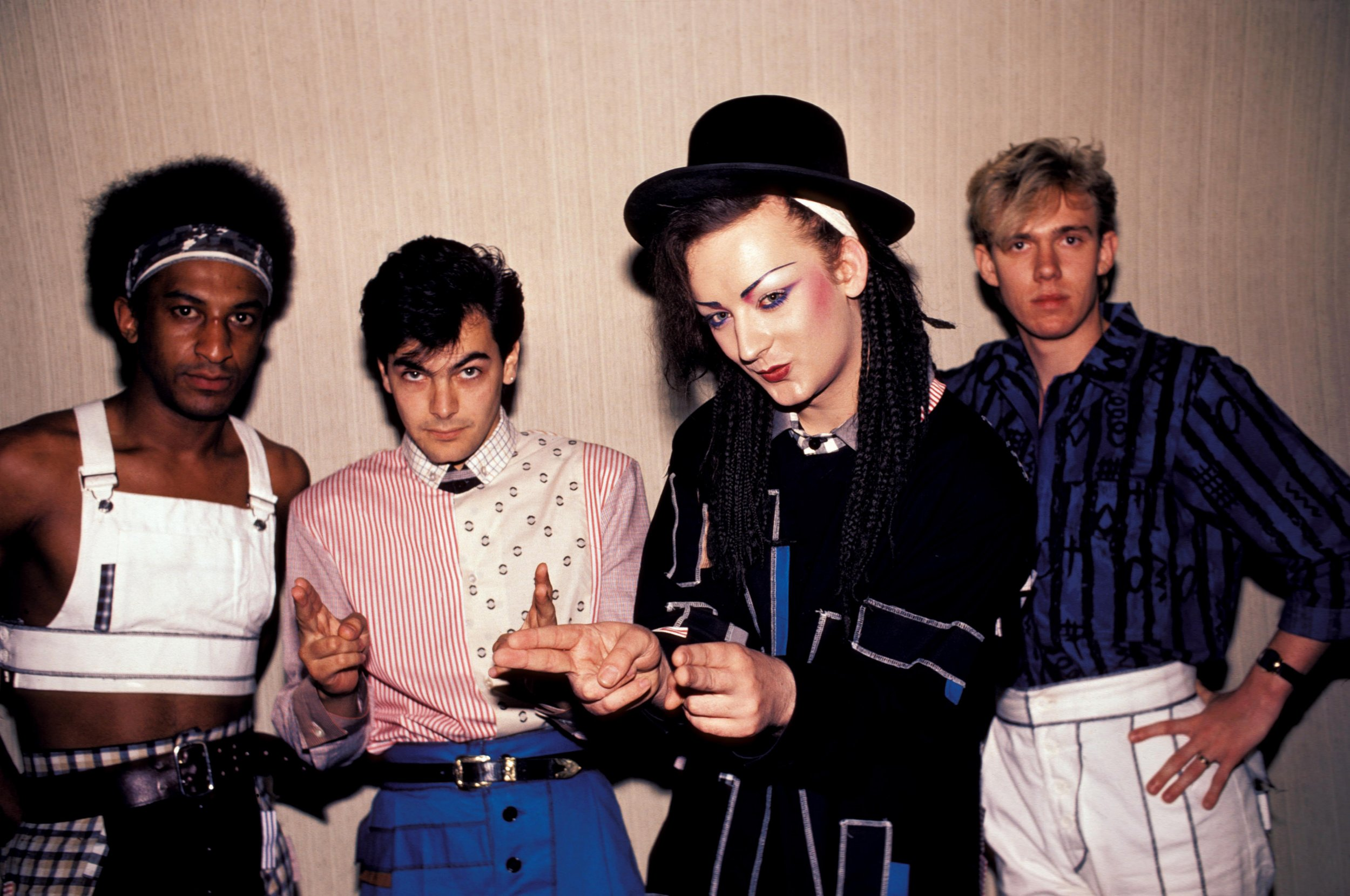UNITED STATES - JUNE 30: Photo of CULTURE CLUB and Mikey CRAIG and Jon MOSS and BOY GEORGE and Roy HAY; Posed group portrait L-R Mikey Craig, Jon Moss, Boy George and Roy Hay (Photo by Ebet Roberts/Redferns)