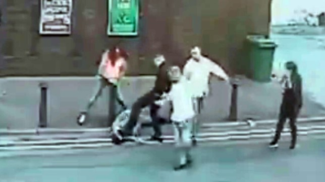 """A woman thug kicked a man unconscious and broke his jaw in a nightclub row. Megan Allen, 22 chased her victim up a road - and attacked him when he tripped over in the street. She and pal Liam Nagle, 25, kicked the man unconscious in the """"brutal and cowardly"""" attack in Swansea city centre which was caught on CCTV. CCTV stills of the attack. © WALES NEWS SERVICE"""