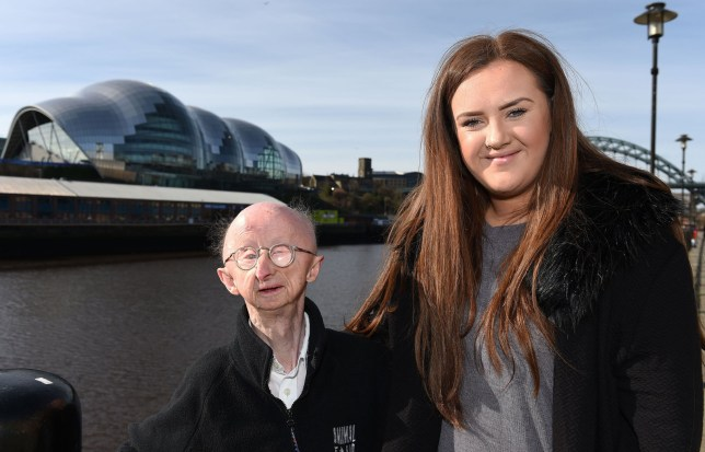 File photo dated 02/04/16 of disabled mugging victim Alan Barnes with Katie Cutler, as a legal dispute between Miss Cutler who created a fundraising page for the disabled mugging victim and a PR firm looks to be at an end after two online petitions were set up for her. PRESS ASSOCIATION Photo. Issue date: Wednesday September 21, 2016. Katie was dubbed the Angel of the North by the press, and awarded a British Empire Medal, after her efforts helped the 4ft 6in vulnerable pensioner buy a new home with £330,000 of public donations after he was a victim of a street attack last year. See PA story SOCIAL Barnes. Photo credit should read: Owen Humphreys/PA Wire