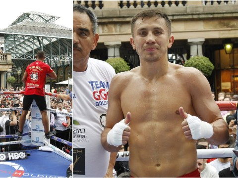 Kell Brook and Gennady Golovkin hold public workout ahead of title fight on Saturday