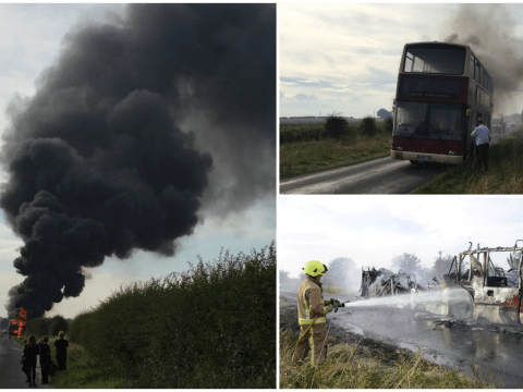 Yorkshire school bus carrying up to 25 pupils destroyed in fire