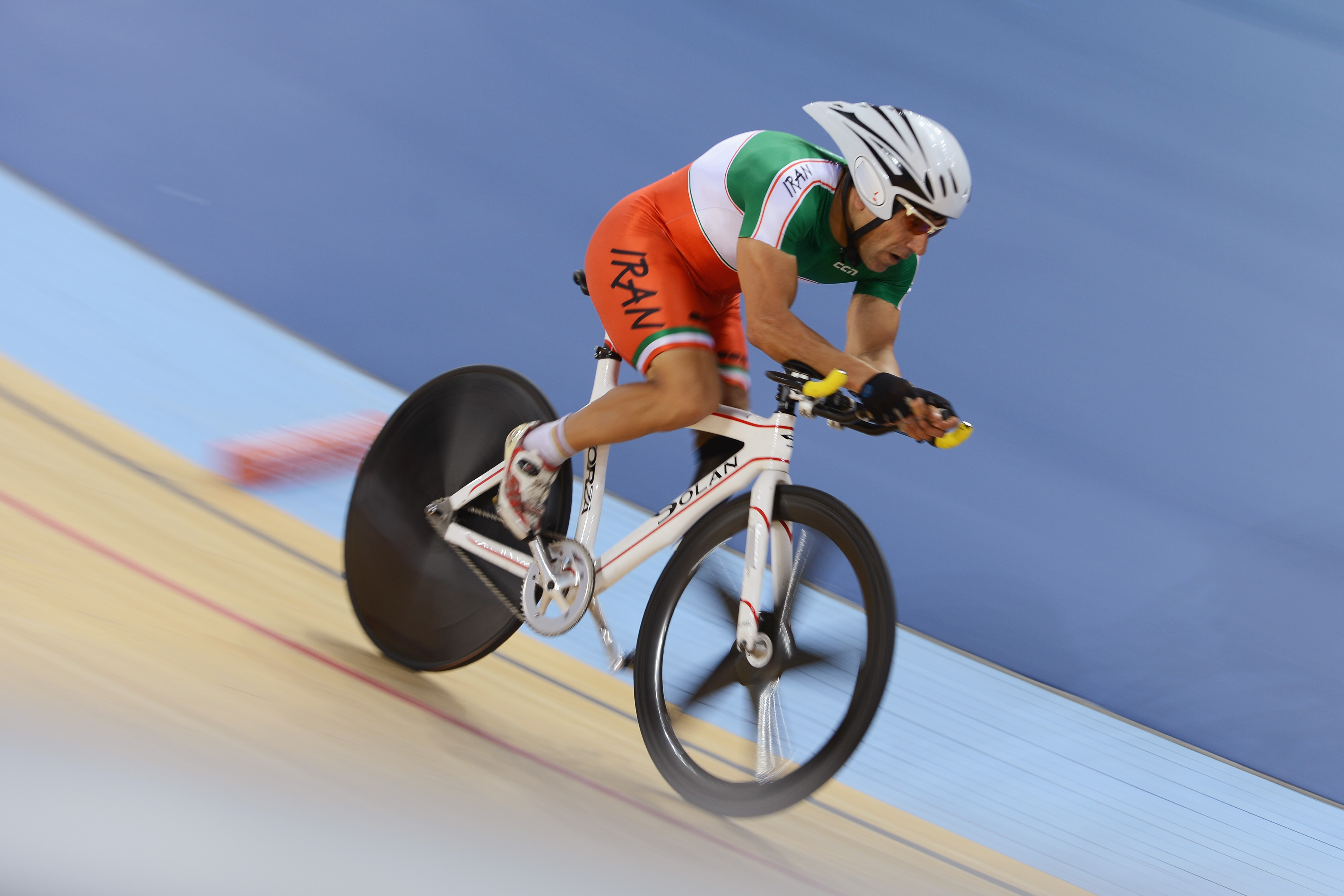 LONDON, ENGLAND - AUGUST 31: Bahman Golbarnezhad of Iran of Cuba competes in Men's Individual C4-5 1km Cycling Time Trial final on day 2 of the London 2012 Paralympic Games at Velodrome on August 31, 2012 in London, England. (Photo by Gareth Copley/Getty Images)