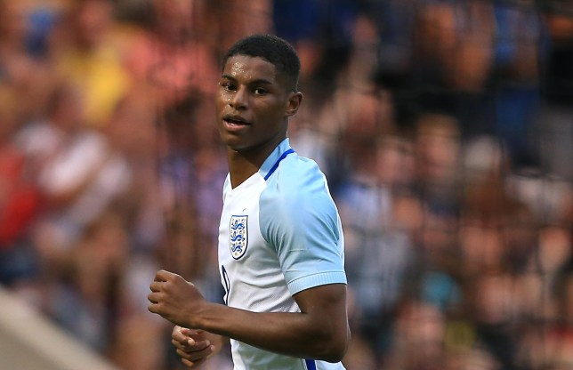 COLCHESTER, ENGLAND - SEPTEMBER 06: Marcus Rashford of England celebrates scoring his second goal during the UEFA European U21 Championship Qualifying match between England and Norway at Colchester Community Stadium on September 6, 2016 in Colchester, England. (Photo by Stephen Pond - The FA/The FA via Getty Images)