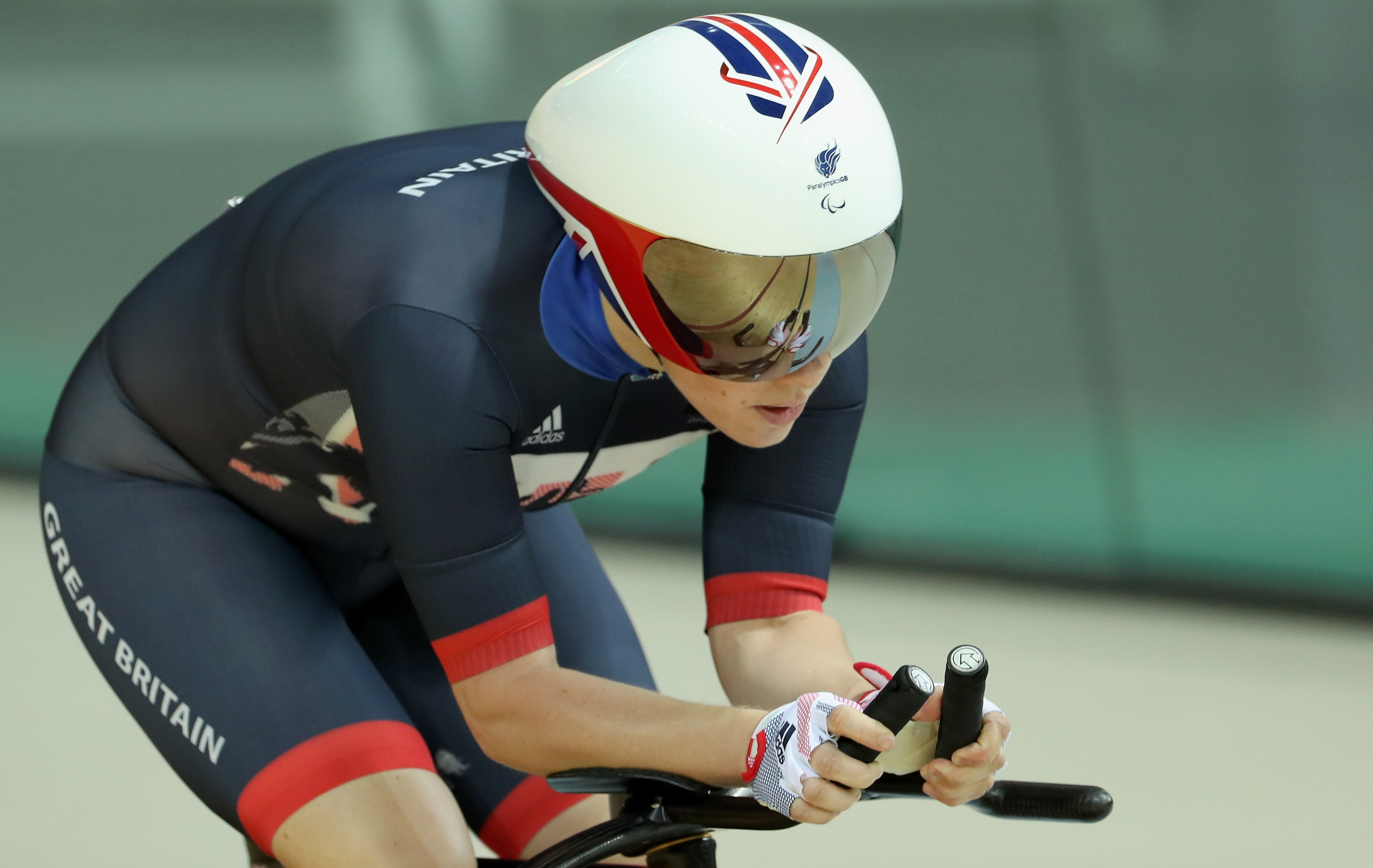 RIO DE JANEIRO, BRAZIL - SEPTEMBER 08: Megan Giglia of Great Britain compets during womens C1-2-3 3000m individual pursuit track cycling on day 1 of the Rio 2016 Paralympic Games the Olympic Velodrome on September 8, 2016 in Rio de Janeiro, Rio de Janeiro. (Photo by Friedemann Vogel/Getty Images)