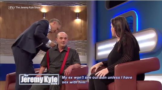 WATCH: Jeremy Kyle helps dress guest while he kicks off at his ex