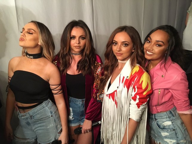 Little Mix before last night's gig (Picture: Cornetto)