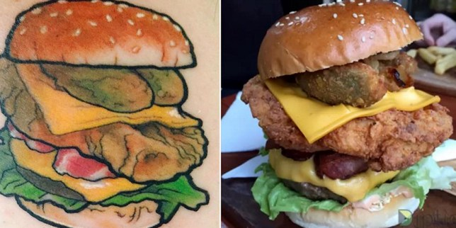Cafe offering free burgers for life if you get a life-size tattoo of one of their burgers Picture: Instagram/burgerlove_aus REF: https://www.instagram.com/p/BK2DbJAA8LV/