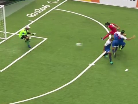 Blind footballer Behzad Zadaliasghar scores worldie at the Paralympics