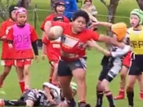 Kid proves he's the new Jonah Lomu, goes full beast mode in Under-9 tournament