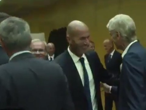 Real Madrid boss Zinedine Zidane appears to snub Manchester United's Jose Mourinho while greeting Arsenal's Arsene Wenger