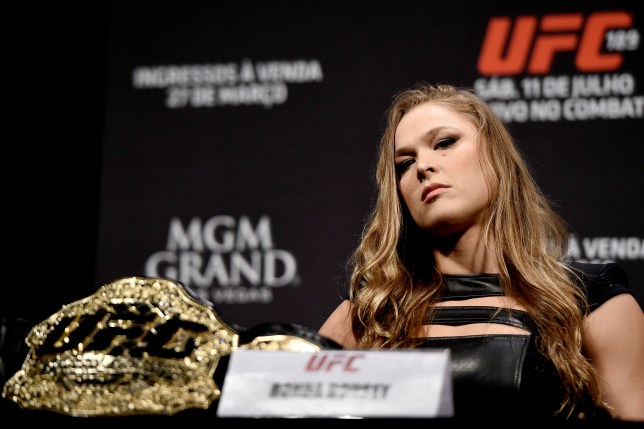 RIO DE JANEIRO, BRAZIL - MARCH 20: UFC Women's Bantamweight Champion Ronda Rousey of the United States looks on during the the UFC 189 World Media Tour Launch press conference at Maracanazinho on March 20, 2015 in Rio de Janeiro, Brazil. (Photo by Buda Mendes/Zuffa LLC/Zuffa LLC via Getty Images)