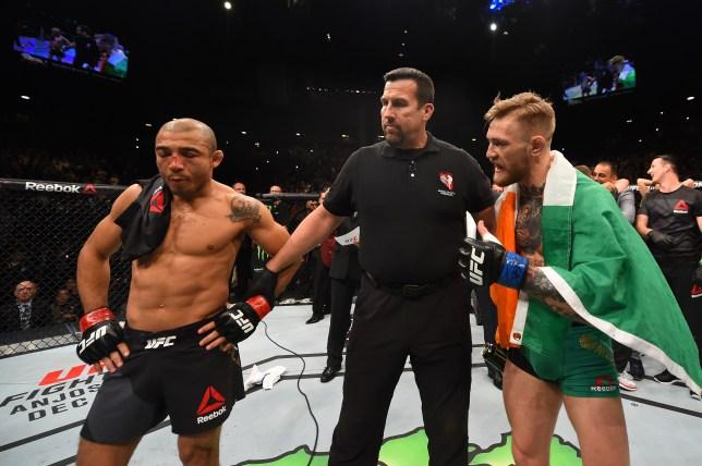 Conor McGregor tries to speak to Jose Aldo before Irishman is announced winner of their fight