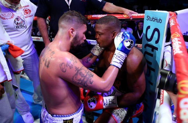LIVERPOOL, ENGLAND - MAY 29: Tony Bellew checks on Illunga Makabu after the Vacant WBC World Cruiserweight Championship fight between Tony Bellew and Illunga Makabu at Goodison Park on May 29, 2016 in Liverpool, England. (Photo by Alex Livesey/Getty Images)