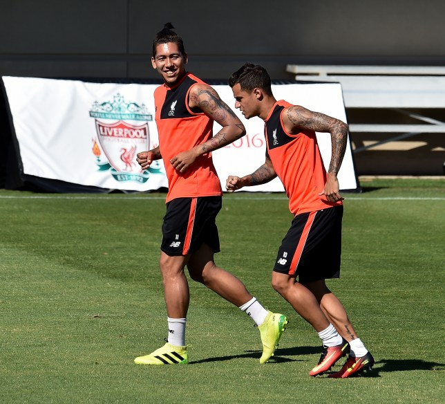 PALO ALTO, CA - JULY 24: (THE SUN OUT, THE SUN ON SUNDAY OUT) Roberto Firmino and Philippe Coutinho of Liverpool during a training session at Stanford University on July 24, 2016 in Palo Alto, California. (Photo by Andrew Powell/Liverpool FC via Getty Images)