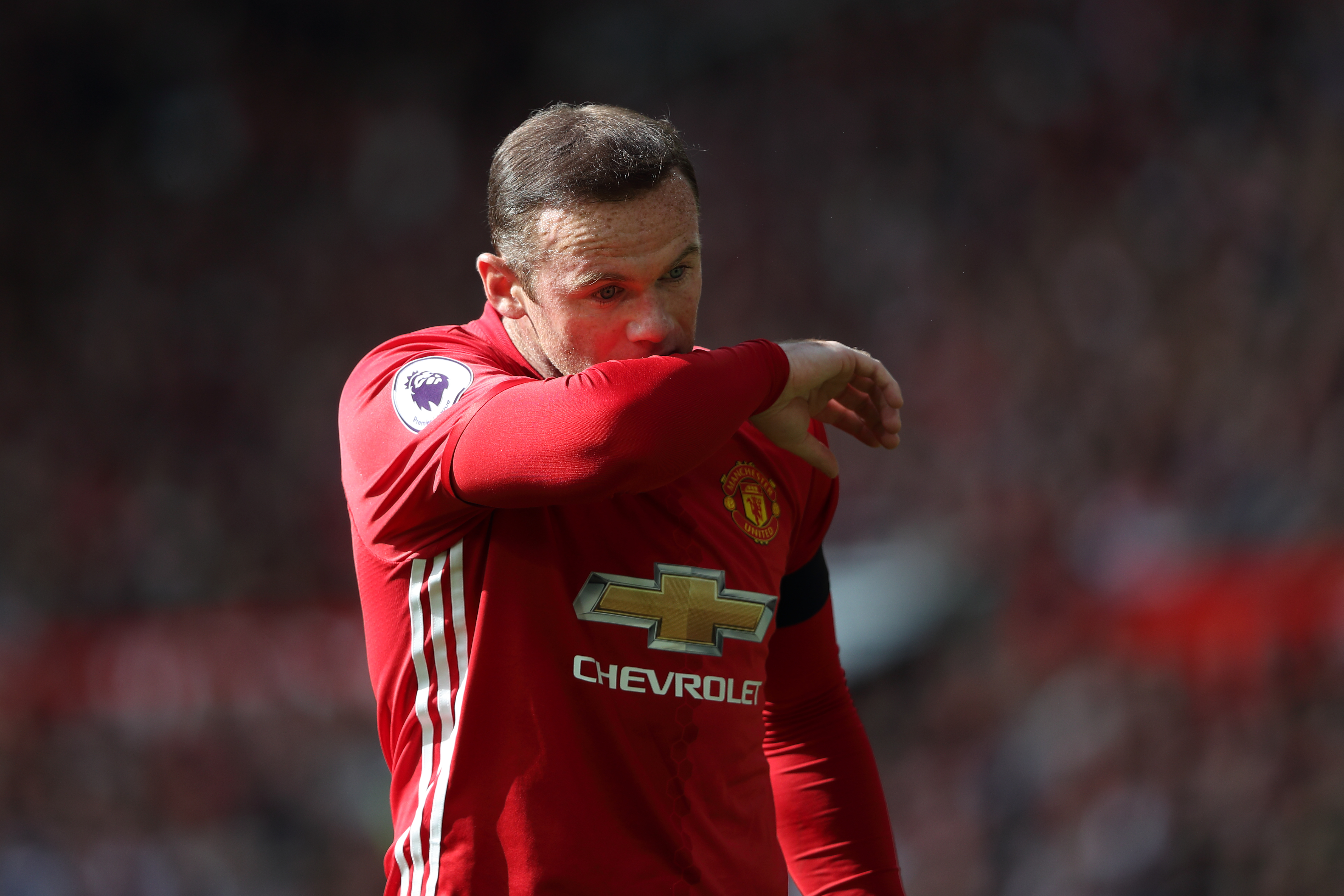 MANCHESTER, ENGLAND - OCTOBER 02: Wayne Rooney of Manchester United during the Premier League match between Manchester United and Stoke City at Old Trafford on October 2, 2016 in Manchester, England. (Photo by Matthew Ashton - AMA/Getty Images)