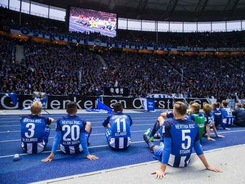 Hertha Berlin slam their fans for unfurling homophobic banner during Cologne clash