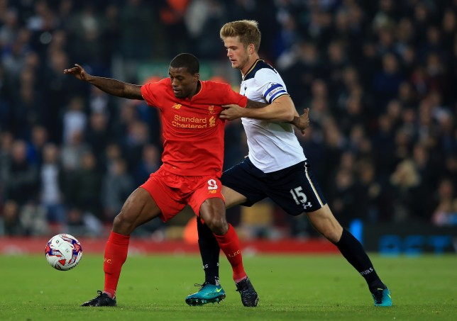 LIVERPOOL, ENGLAND - OCTOBER 25: Georginio Wijnaldum of Liverpool (L) and Eric Dier of Tottenham Hotspur (R) battle for possession during the EFL Cup fourth round match between Liverpool and Tottenham Hotspur at Anfield on October 25, 2016 in Liverpool, England. (Photo by Jan Kruger/Getty Images)
