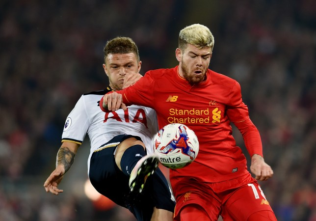 LIVERPOOL, ENGLAND - OCTOBER 25: (THE SUN OUT, THE SUN ON SUNDAY OUT) Alberto Moreno of Liverpool during the EFL Cup fourth round match between Liverpool and Tottenham Hotspur at Anfield on October 25, 2016 in Liverpool, England. (Photo by Andrew Powell/Liverpool FC via Getty Images)