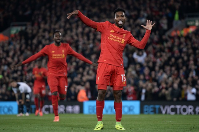 Liverpool's English striker Daniel Sturridge (R) celebrates after scoring their second goal during the EFL (English Football League) Cup fourth round match between Liverpool and Tottenham Hotspur at Anfield in Liverpool north west England on October 25, 2016. / AFP / Oli SCARFF / RESTRICTED TO EDITORIAL USE. No use with unauthorized audio, video, data, fixture lists, club/league logos or 'live' services. Online in-match use limited to 75 images, no video emulation. No use in betting, games or single club/league/player publications. / (Photo credit should read OLI SCARFF/AFP/Getty Images)