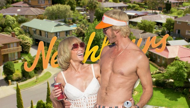 Neighbours stars Kylie Minogue and Guy Pearce reunited Credit: Splash/Channel 5