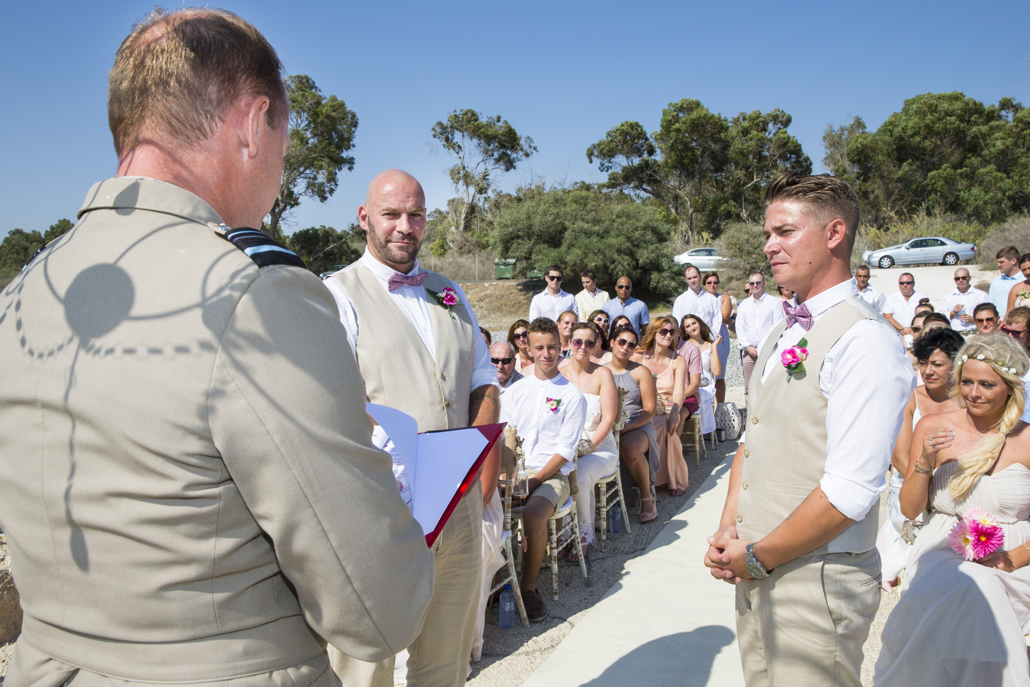 Marriage 1 - L to R: Sovereign Base Area Administrator, Air Vice Marshal Mike Wigston, Aaron Weston and Sergeant Alastair Smith. Sergeant (Sgt) Alastair Smith (sic) a Soldier from 2 Prince of Wales Royal Regiment (2PWRR) today married his civilian partner on Saturday 10 September 2016 in Dhekelia, part of the British Sovereign Base Areas on the island of Cyprus. The ceremony was conducted by Commander British Forces (CBF) Cyprus, Air Vice-Marshall (AVM) Mike Wigston, CBE, RAF (sic) and was attended by family, friends and members of Sgt Smiths Battalion 2PWRR.