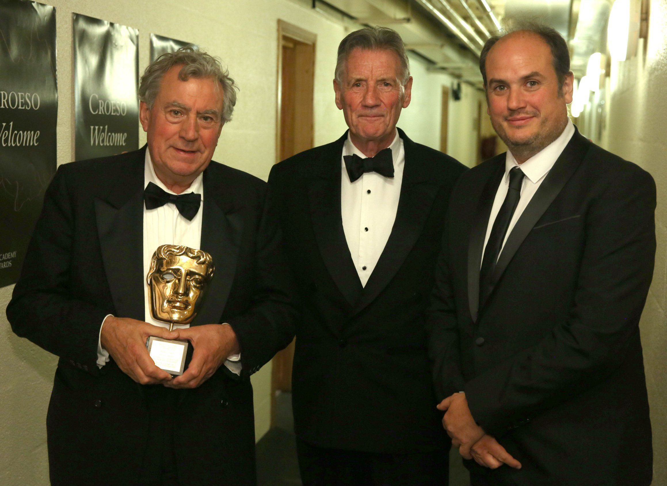 Mandatory Credit: Photo by Mei Lewis/BAFTA/REX/Shutterstock (6050988d) Terry Jones, Michael Palin and Bill Jones BAFTA Cymru Awards, Backstage, Cardiff, Wales, UK - 02 Oct 2016