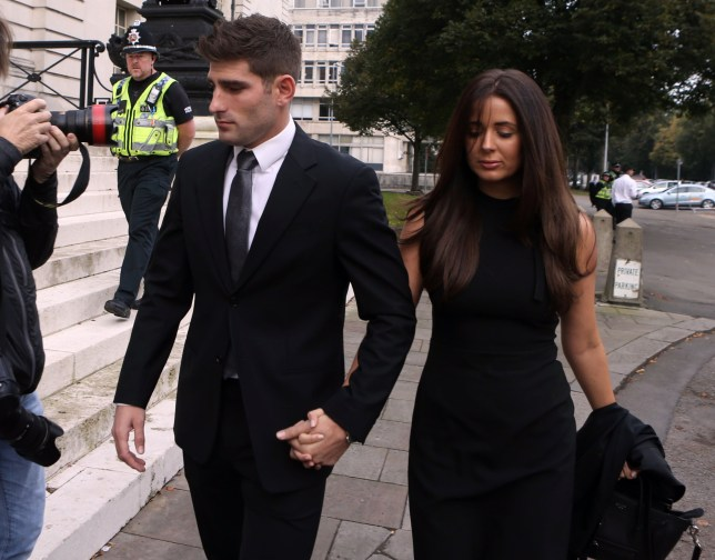Footballer Ched Evans with partner Natasha Massey, arriving at Cardiff Crown Court to go on trial accused of raping a woman in May 2011. PRESS ASSOCIATION Photo. Picture date: Tuesday October 4, 2016. The 27-year-old entered a not guilty plea during a court hearing in May. See PA story COURTS Evans. Photo credit should read: Steve Parsons/PA Wire
