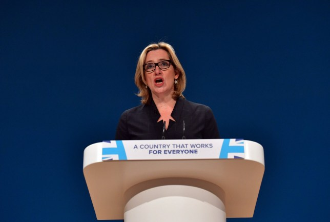 BIRMINGHAM, ENGLAND - OCTOBER 04: Home Secretary, Amber Rudd, delivers a her first speech as Home Secretary on the third day of the Conservative Party Conference 2016 at the International Conference Centre on October 4, 2016 in Birmingham, England. Ministers and senior Party members will address delegates throughout the day with a number of speeches discussing 'a society that works for everyone'. (Photo by Carl Court/Getty Images)
