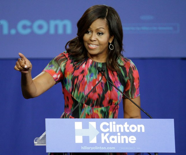 First lady Michelle Obama speaks during a campaign rally for Democratic presidential candidate Hillary Clinton, Tuesday, Oct. 4, 2016, in Charlotte, N.C. (AP Photo/Chuck Burton)
