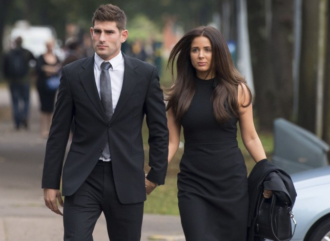 CARDIFF, WALES - OCTOBER 04: Chesterfield F.C football player Ched Evans arrives at Cardiff Crown Court with partner Natasha Massey to stand trial for rape on October 4, 2016 in Cardiff, Wales. The former Wales striker was jailed in 2012 for raping a 19-year-old woman, but had his conviction quashed by the Court of Appeal in April. (Photo by Matthew Horwood/Getty Images)