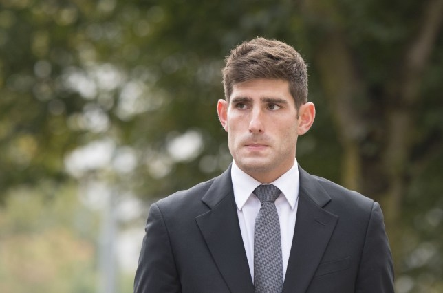 CARDIFF, WALES - OCTOBER 11:  Chesterfield F.C football player Ched Evans arrives at Cardiff Crown Court for his retrial for rape on October 11, 2016 in Cardiff, Wales. The former Wales striker was jailed in 2012 for raping a 19-year-old woman, but had his conviction quashed by the Court of Appeal in April.  (Photo by Matthew Horwood/Getty Images)