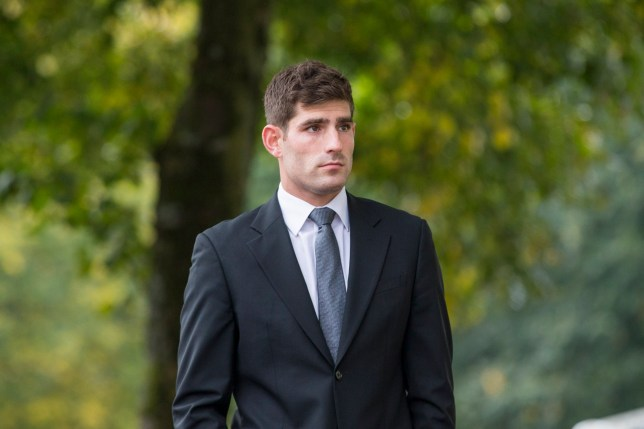 """CARDIFF, UNITED KINGDOM - OCTOBER 11: Ched Evans arrives at Cardiff Crown Court for Day Five of his retrial for rape, on October 11, 2016 in Cardiff, Wales, England The Chesterfield forward denies raping a 19-year-old at a Premier Inn in Rhuddlan, Denbighshire, on 30 May 2011 and insists it was consensual sex. Mr Evans, 27, was found guilty of rape at Caernarfon Crown Court in 2012, but his conviction was quashed in April. He told Cardiff Crown Court on Tuesday there was """"nothing sinister"""" in what he did. The court heard the woman returned to the hotel with Mr Evans' friend and fellow footballer Clayton McDonald after meeting him at Rhyl's Zu Bar. PHOTOGRAPH BY Mark Hawkins / Barcroft Images London-T:+44 207 033 1031 E:hello@barcroftmedia.com - New York-T:+1 212 796 2458 E:hello@barcroftusa.com - New Delhi-T:+91 11 4053 2429 E:hello@barcroftindia.com www.barcroftmedia.com"""