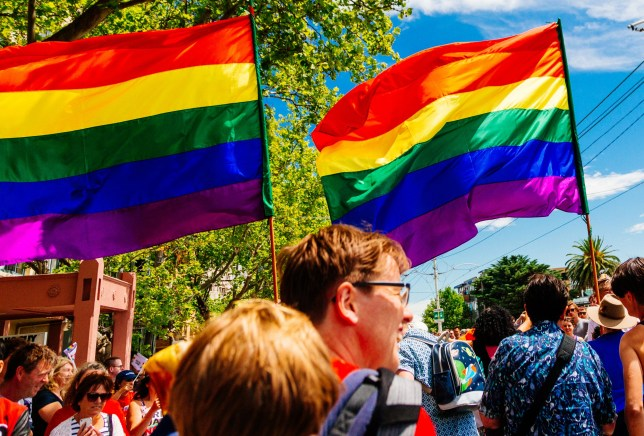 Rainbow flag being waved during the MidSumma festival Pride march conducted by the lesbian, gay, bisexual, transgender and intersex (LGBTI) communities of Melbourne calling for marriage equality. St Kilda, Australia January 31 2016